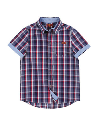 7 For All Mankind Boys Peacock Plaid Collared Shirt-ASSORTED-Large