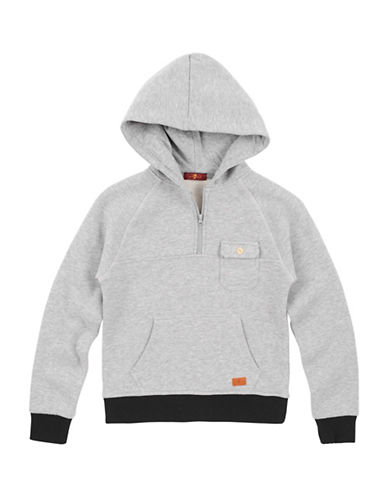 7 For All Mankind Heathered Pullover Hoodie-GREY-Medium 89643454_GREY_Medium