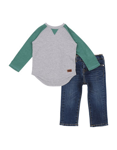 7 For All Mankind Raglan Tee and Jeans Set-GREEN-24 Months