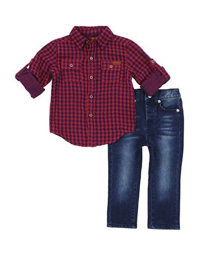 7 For All Mankind Plaid Collared Shirt and Jeans Set-BRIGHT RED-24 Months