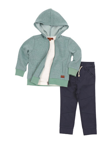 7 For All Mankind Zip Hoodie, Tee and Jogger Pants Set-GREY-12 Months