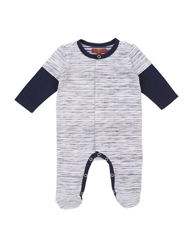 7 For All Mankind Printed Footie-BLUE-3-6 Months
