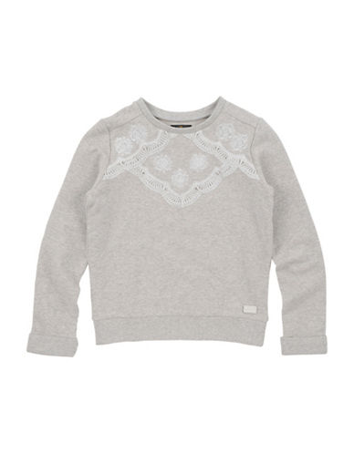 7 For All Mankind Floral Crochet Detail Sweatshirt-GREY-Large
