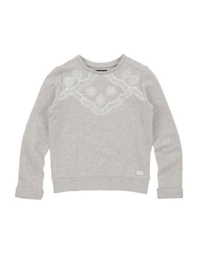 7 For All Mankind Floral Crochet Detail Sweatshirt-GREY-Medium