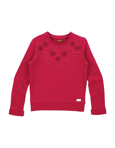 7 For All Mankind Floral Crochet Detail Sweatshirt-RED-Small 89646270_RED_Small
