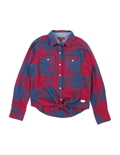7 For All Mankind Tie-Front Plaid Flannel Shirt-RED-X-Large