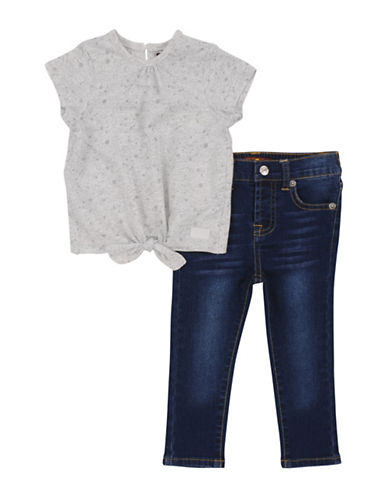 7 For All Mankind Tie-Front Tee and Jeans Set-GREY-12 Months