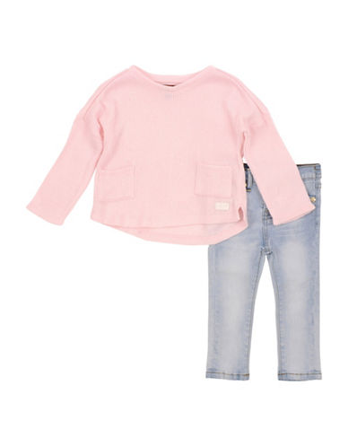 7 For All Mankind Slouchy Sweater and Jeans Set-PINK-12 Months