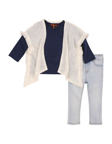 7 For All Mankind Fringed Poncho, Tee and Jeans Set-BEIGE-18 Months