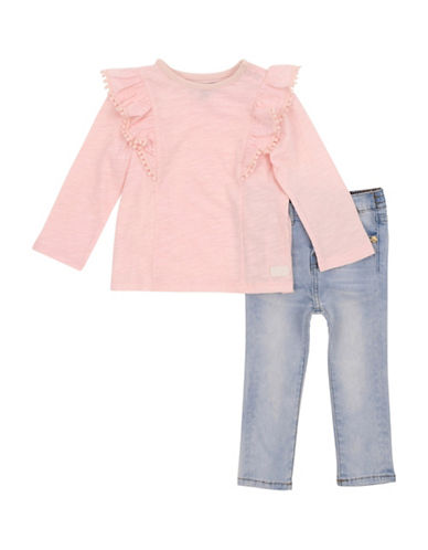 7 For All Mankind Ruffle Top and Skinny Jeans Two-Piece Set-PINK-18 Months