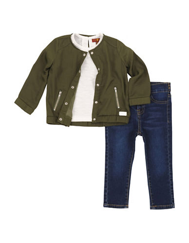 7 For All Mankind Three-Piece Tri-Tone Bomber Jacket, Top and Pants Set-AGAVE GREEN-12 Months