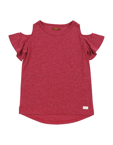 7 For All Mankind Cold-Shoulder Tee-RED-Medium