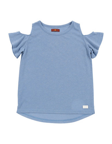7 For All Mankind Cold-Shoulder Tee-BLUE-Small