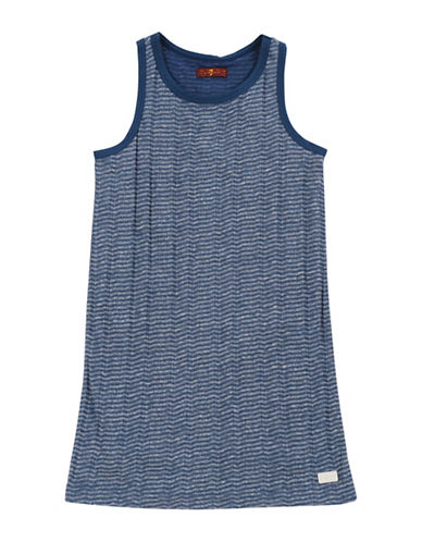 7 For All Mankind Sleeveless Ribbed Herringbone Dress-BLUE-Large