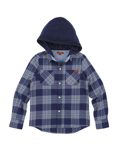 7 For All Mankind Plaid Hooded Sport Shirt-GREEN-Small