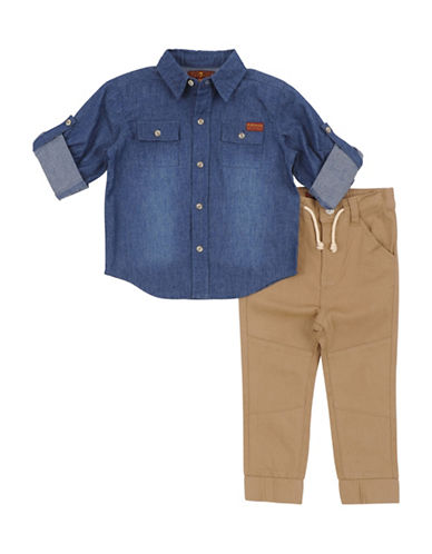 7 For All Mankind Two-Piece Denim Shirt and Pants Set-BLUE-2