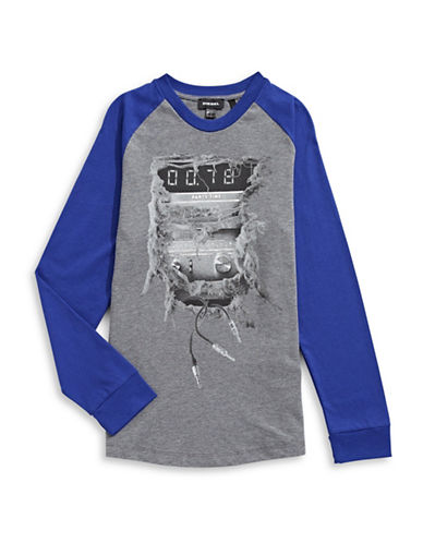 Diesel Audio Graphic Raglan T-Shirt-GREY-14