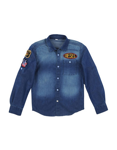 Diesel Denim Patchwork Button-Up Shirt-BLUE-Medium