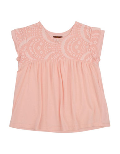 7 For All Mankind Cap-Sleeve Lace Top-PINK-12