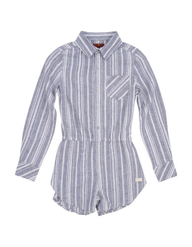 7 For All Mankind Stripe Long-Sleeve Romper-PURPLE-12