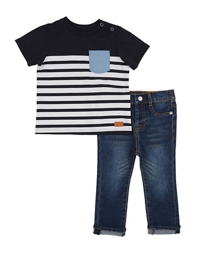 7 For All Mankind Two-Piece Stripe Tee and Jeans Set-INDIGO-12 Months