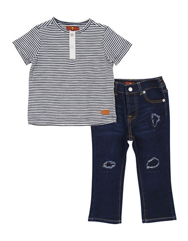 7 For All Mankind Two-Piece Stripe Tee and Distressed Jeans Set-INDIGO-18 Months