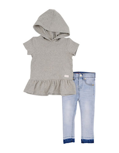 7 For All Mankind Two-Piece Hoodie and Jeans Set-HTHR GREY-24 Months