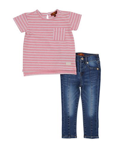 7 For All Mankind Two-Piece Tee and Jeans Set-PEACHES-24 Months