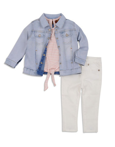 7 For All Mankind Three-Piece Tee, Jacket and Jeans Set-PEACHES-24 Months