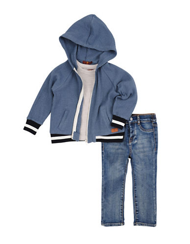 7 For All Mankind Three-Piece Cotton Tee with Hoodie and Pants Set-PEACOCK-24 Months