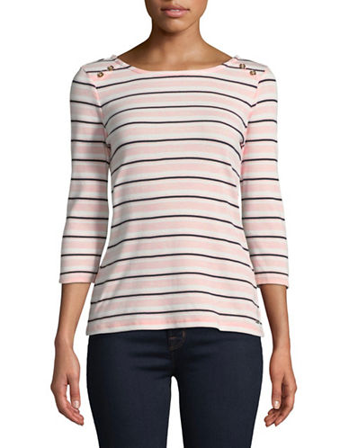 Tommy Hilfiger Ainsley Brionne Striped Cotton Tee-PINK-X-Small 89834610_PINK_X-Small