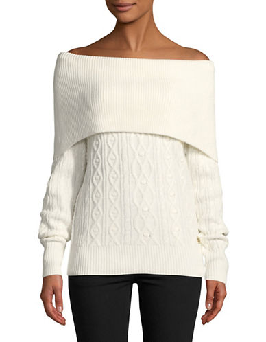 Tommy Hilfiger Off-The-Shoulder Sweater-NATURAL-Small