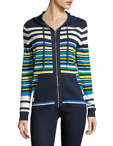 Tommy Hilfiger Striped Zip Cotton Hoodie-BLUE-Large