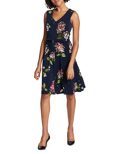 Tommy Hilfiger Printed Jersey Fit-and-Flare Dress-NAVY-6