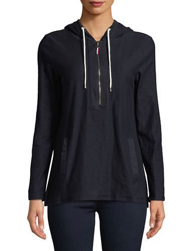 Tommy Hilfiger Zip Cotton Hoodie-NAVY-Large