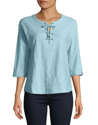 Tommy Hilfiger Three-Quarter Sleeve Lace-Up Cotton Top-BLUE-Large