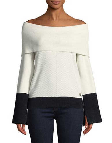 Tommy Hilfiger Off-the-Shoulder Two-Tone Sweater-WHITE-Large