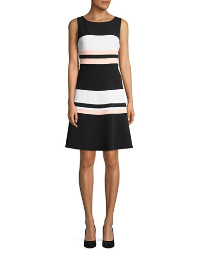 Tommy Hilfiger Sleeveless Striped Colourblock Dress-BLACK-14