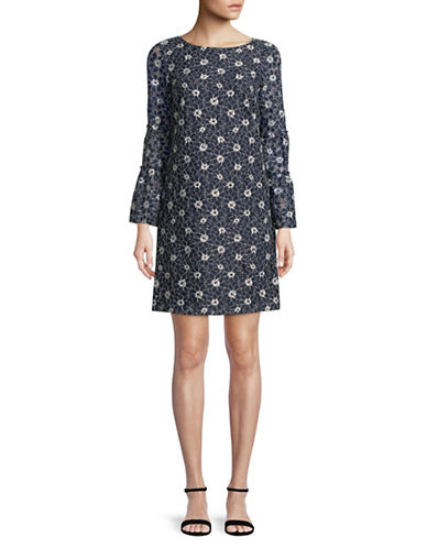 Tommy Hilfiger Bell-Sleeve Lace Dress-NAVY-16