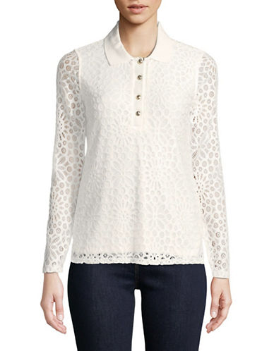 Tommy Hilfiger Lace Long Sleeve Polo-IVORY-X-Large