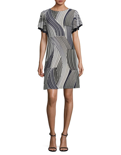 Tommy Hilfiger Printed Flutter Sleeve Dress-BLACK-8
