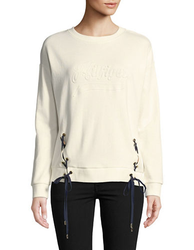 Tommy Hilfiger Lace Tie Crew Pullover-IVORY-Large