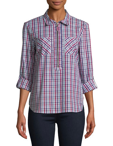 Tommy Hilfiger Popover Plaid Roll-Tab Cotton Shirt-MULTI-X-Small