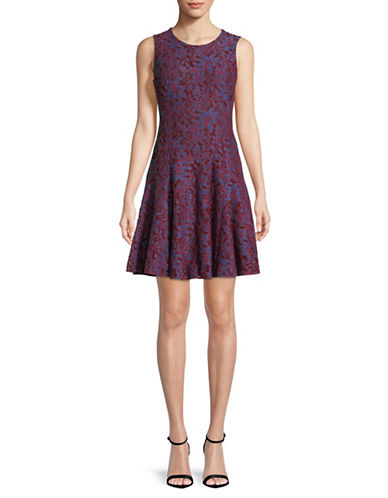 Tommy Hilfiger Lace Fit-and-Flare Dress-RED-4