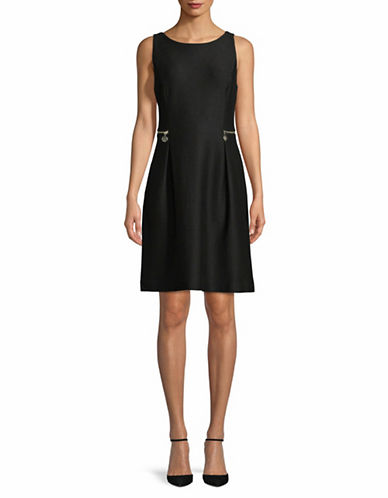 Tommy Hilfiger Sleeveless Ribbed Zip Dress-BLACK-12