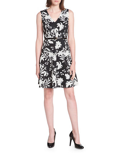 Tommy Hilfiger Iris Print Scuba Crepe Fit-and-Flare Dress-BLACK-10
