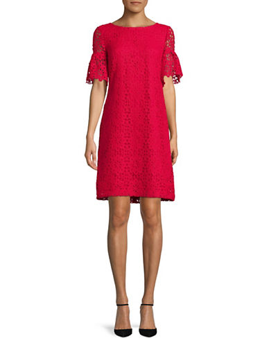 Tommy Hilfiger Lace Bell-Sleeve Dress-SCARLET-16