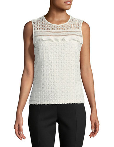 Tommy Hilfiger Ruffled Sleeveless Lace Top-IVORY-Large