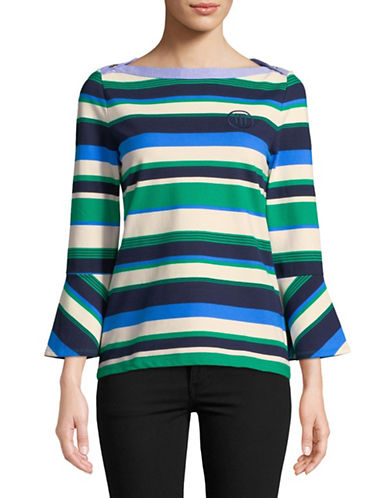 Tommy Hilfiger Striped Flare-Sleeve Top-GREEN-Large