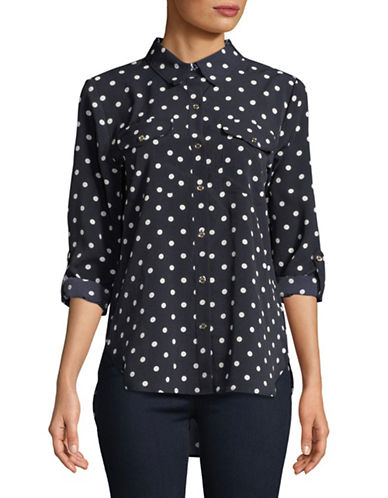 Tommy Hilfiger Polka Dot Roll-Tab Shirt-NAVY-Large